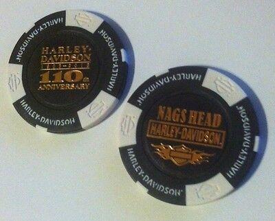 Harbinger NC Outer Banks Harley Davidson Poker Chip Black /& White OBX