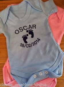 PERSONALISED 100% COTTON PINK OR BLUE BABY VEST/BODYSUIT BOY/GIRL GIFT