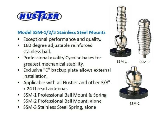 HUSTLER SSM-3 PROFESSIONAL STAINLESS STEEL 3//8-24 ANTENNA BARREL SPRING