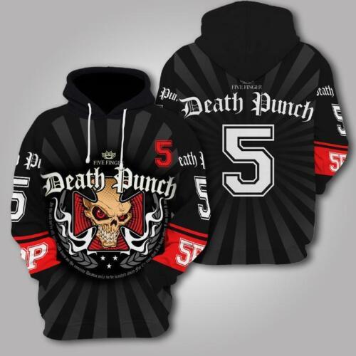 Unisex Five Finger Death Punch Band Skull V2 3D Pullover Hoodie All Over Prints