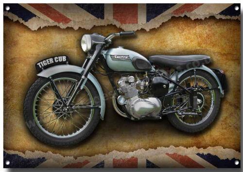 TRIUMPH TIGER CUB MOTORCYCLE METAL SIGN,CLASSIC BRITISH TRIUMPH MOTORCYCLE.