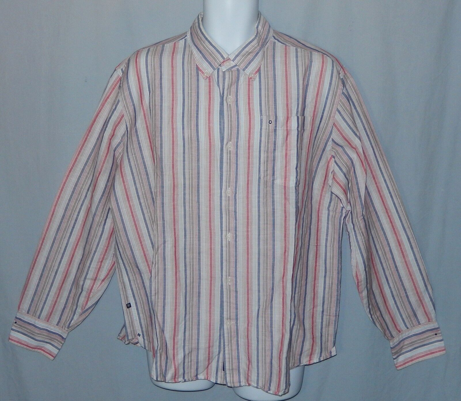 Mens Victorinox Linen Shirt Size XL Tailored Fit Button Down Striped
