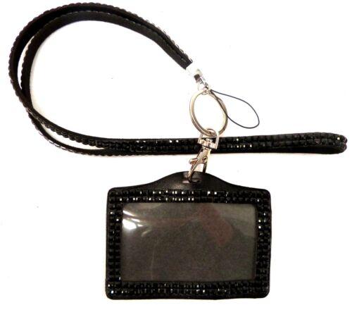 CORDINO e Diamonte Bling Strass in Cristallo Cinturino Collo ID Card chiave Badge Holder