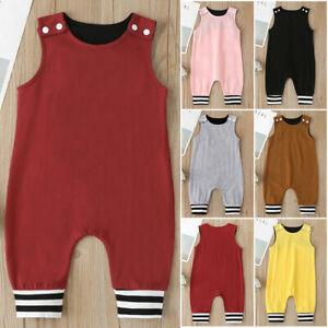 Summer Newborn Kids Baby Boy/&Girls Solid Overalls Romper Jumpsuit Clothes Outfit