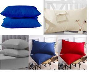 2-x-Taie-D-039-oreiller-De-Luxe-100-Menagere-en-coton-egyptien-200-fils-au-pouce-Paire-Pack