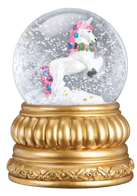 Christmas Prancing Unicorn Snow Globe