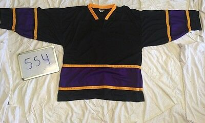 c03bcf934dc BLANK BLACK Purple Gold Classic Trim Mens League Cross Pond Hockey Jersey  554