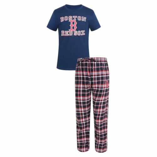 Boston Redsox Pajamas T-shirt /& Flannel Tiebreaker Sleep Set New