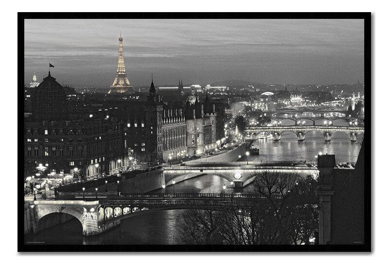 Paris River Seine Framed Cork Memo Notice Board With Pins