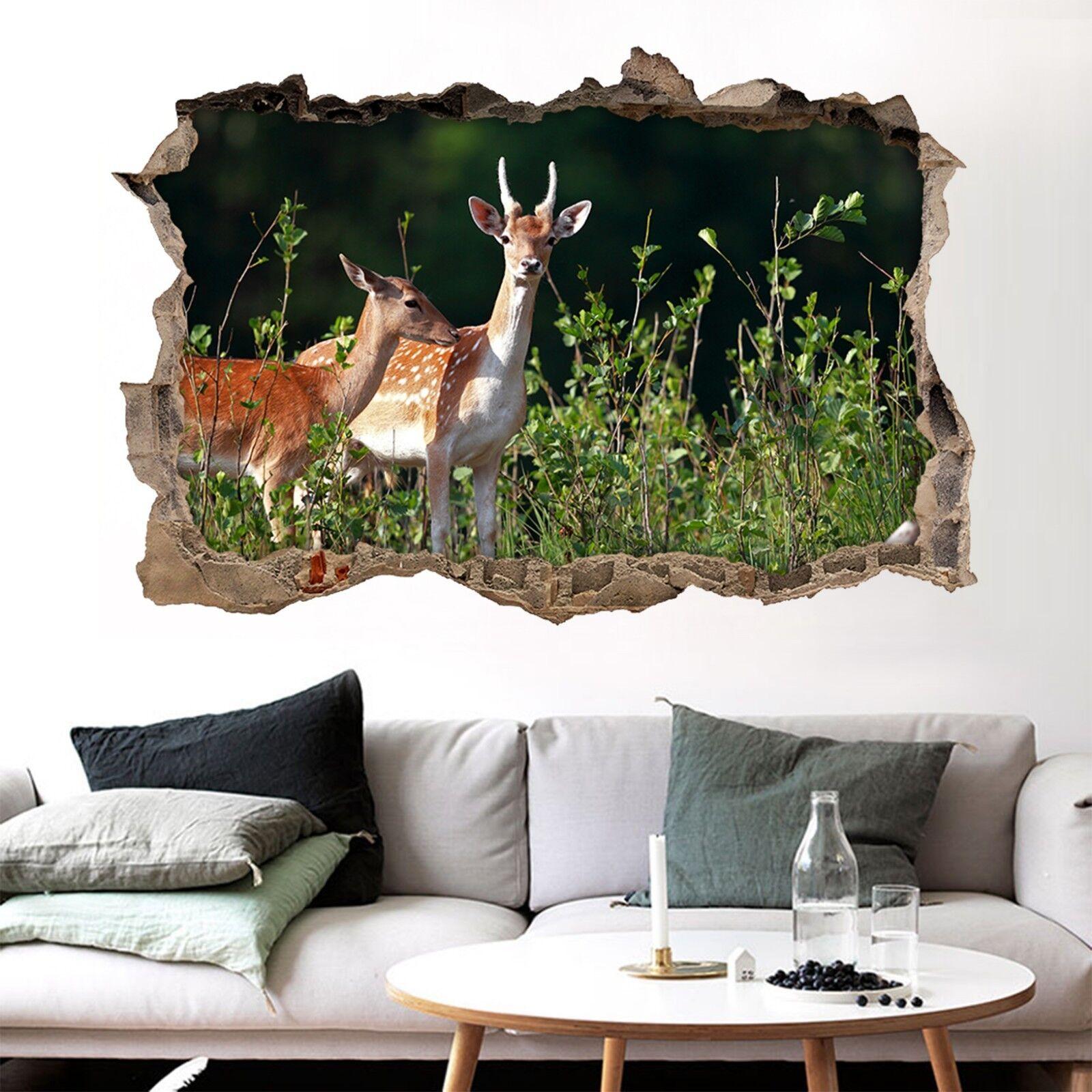 3D Süße Hirsche 360 Mauer Murals Mauer Aufklebe Decal Durchbruch AJ WALLPAPER DE
