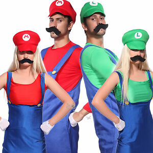 Image is loading Mens-Womens-Super-Mario-Luigi-Bros-Cosplay-Costume-  sc 1 st  eBay & Mens Womens Super Mario Luigi Bros Cosplay Costume Couples Carnival ...