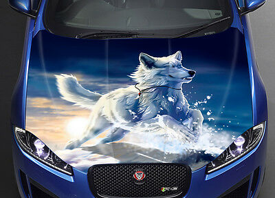 Wolf Girl Art Car Hood Wrap Full Color Vinyl Sticker Decal Fit Any Car