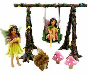 Fairy-Garden-Swing-Set-with-Miniature-Fairies-amp-Accessories-Pretmanns