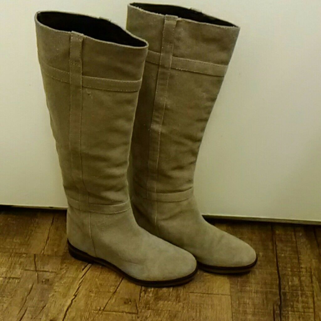 New Tila March March March Paris Tan Suede Leather Tall Boots Size 6 4f9c20