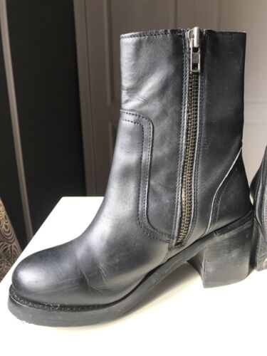 Ladies Leather Size 37 Tacco Boot Ankle alto Donna Designer 4 Topshop Nero Small xgTOUq
