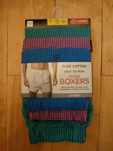 BNWT Homme m/&s 3 Pack Tissé braguette boutonnée multicolore Boxers taille L R//P £ 18