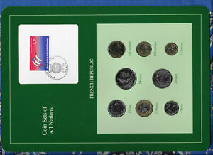 Coin-Sets-of-All-Nations-France-French-w-card-1981-1989-UNC-2-Francs-1981