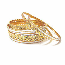 Rabbi Gold Plated 8 Pcs Albela Silver Shine Bangles Set Size 2.2