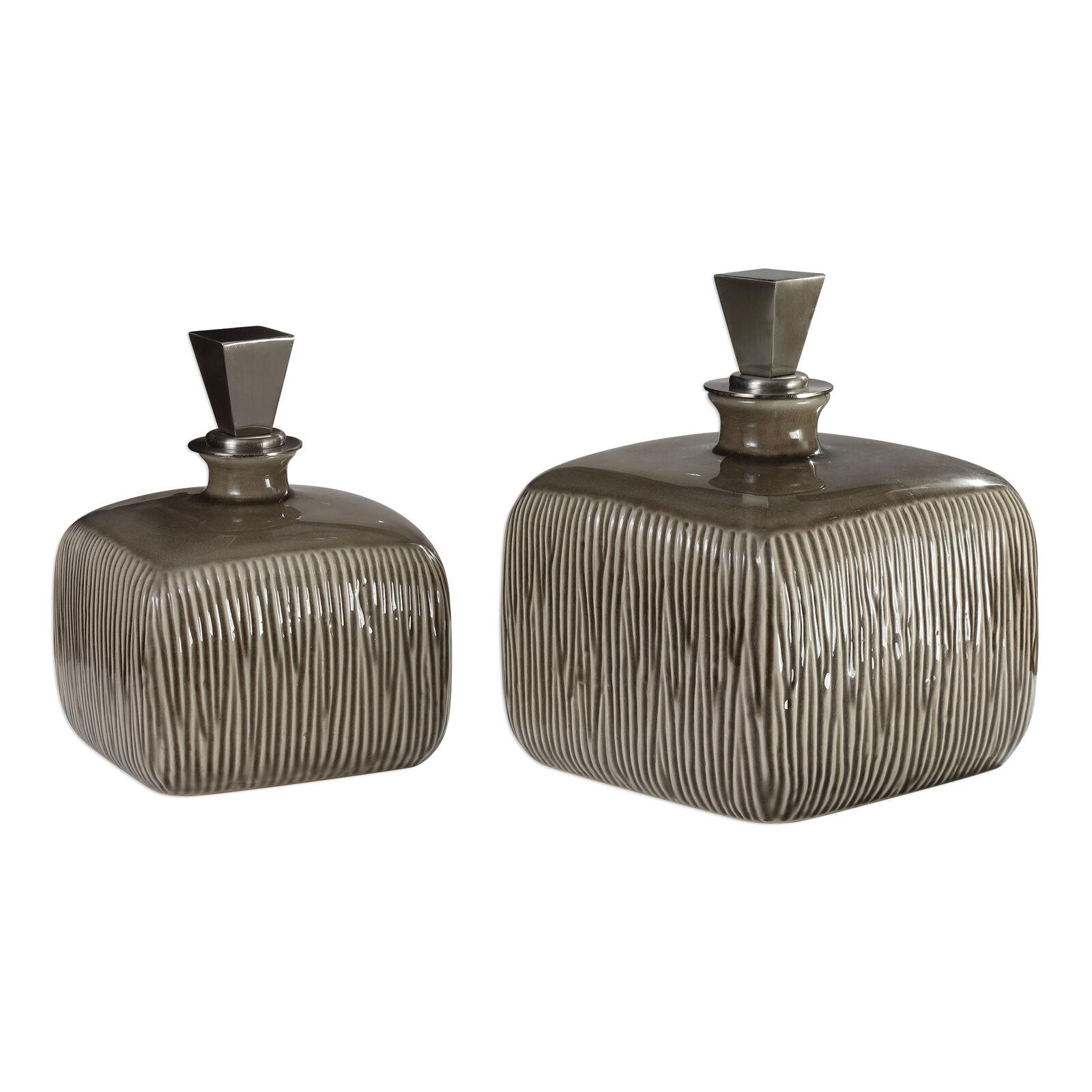 Mid Century Modern Square Ceramic Bottle Set 2  Brown Taupe Finial Ribbed Umber