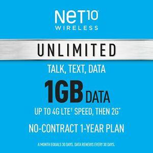 Net10 Prepaid Wireless Phone Plan + SIM - Unlimited Talk & Text 1GB per Month