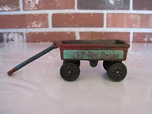 VINTAGE CAST IRON LIL' RED WAGON