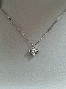 Collier Girocollo Punto Luce Oro Bianco 18kt Diamante 0,14 Ct Matrimonio