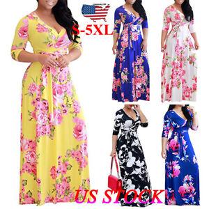 Women-Floral-Long-Dress-Evening-Gown-Party-Beach-Hippie-Maxi-Dress-Plus-Size