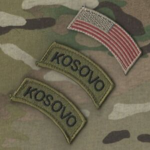 Details about KOSOVO PEACE FORCE KFOR US FORCES CAMP BONDSTEEL vel©®Ø  3-TAB: US Flag + KOSOVO