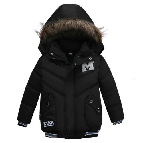 Kid Baby Boy Winter Warm Coat Fur Hooded Thick  Jacket Cotton-padded Outwear