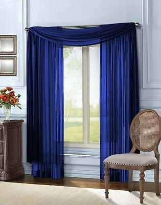 """Empire Home Solid Sheer Window Voile Scarf Valance 216"""" Long Scarves Navy Blue"""