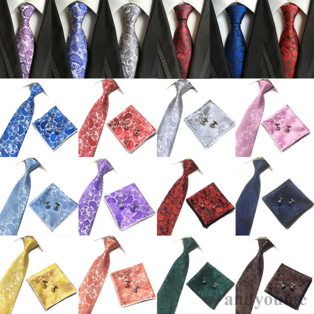 Men's Silk Paisley Tie Set Jacquard Woven Necktie Handkerchief Cufflinks Wedding