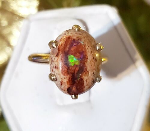 14K Gold Mexican Fire Opal Ring 5.5