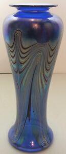 Cobalt-Blue-Art-Glass-Vase-W-Colorful-Pulled-Feather-Design-Signed-Marc-Boutte