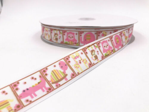 1-10yads 1/'/' Grosgrain Ribbon printed DIY Sewing Hair Bows Crafts 25mm