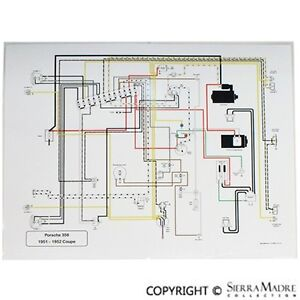 full color wiring diagram porsche 356 pre a with pull switches 51 rh ebay com porsche 356 speedster wiring diagram 1965 porsche 356 wiring diagram