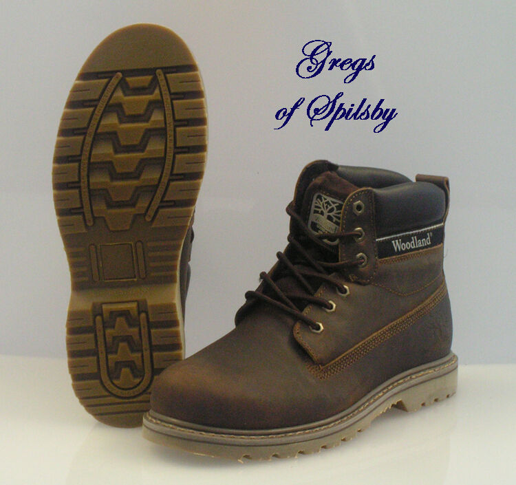 Woodland Brown Leather Utility Work Boots With Goodyear Welted Soles Sizes 6-12