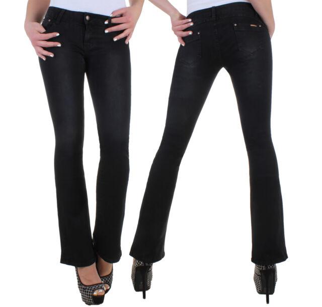 Stretch Jeans Damen Hose Bootcut Damenjeans Damenhose Schlag Hüftjeans ★ 3y
