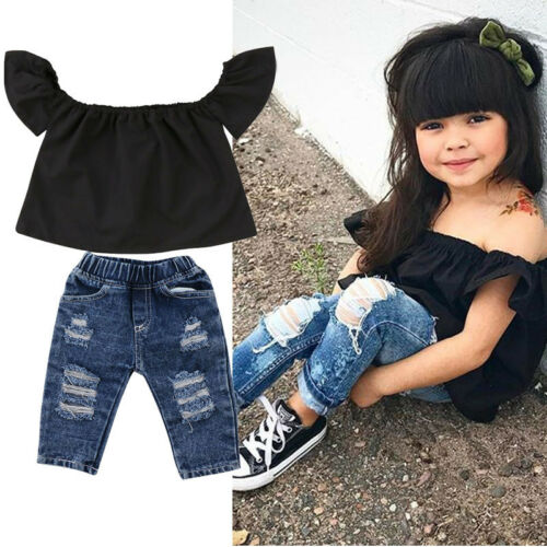 Canis Toddler Kids Baby Girls Off Shoulder Tops Hot Denim Pants Outfits Clothes