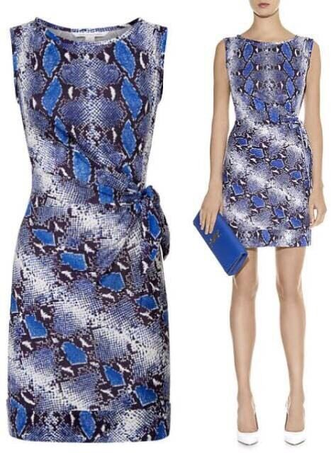 Nwt Diane Von Furstenberg 100% Silk NEW Della Python Blau Whit purpl Dress Sz.10