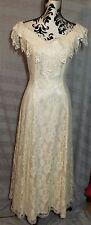 LORALIE ORIGINALS Off White Lace Formal VINTAGE 80s Prom Bridal Dress USA Sz 12