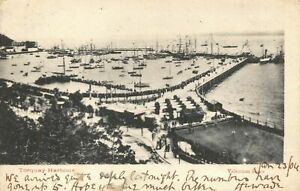 Vintage-1904-Devon-Postcard-Torquay-Harbour-with-Shoreham-707-Duplex-Cancel-BG9