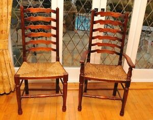 Exceptionnel Image Is Loading Oak Ladderback Chairs Set 8 Farmhouse Kitchen Diners
