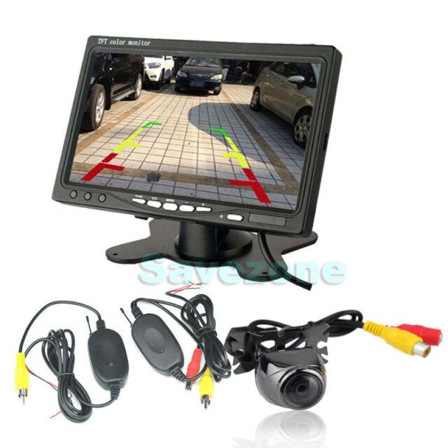 "Wireless Metal ReversingParking Camera170°+ 7""LCDMonitorCarRearViewKit"
