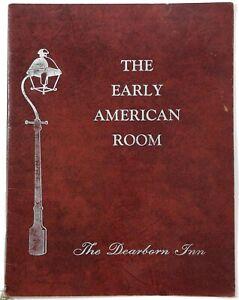 1990's Vintage Menu THE DEARBORN INN - EARLY AMERICAN ROOM Dearborn Michigan