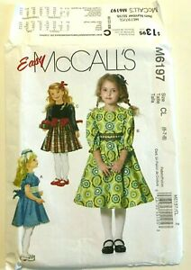 McCalls-M6197-Girl-Dresses-Size-6-7-8-Easy-Sewing-Pattern-U-C-Back-To-School-BTS