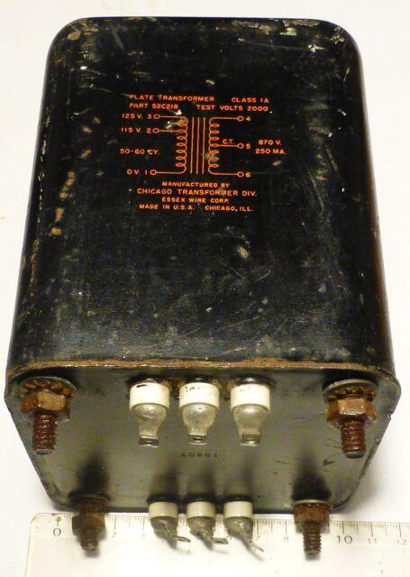 Transformateur d'alimentation HT radio militaire US 2 x 870 V /200 Watts