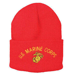 254036baca8 Image is loading USMC-Marine-Corps-Watch-Cap-Beanie-Red
