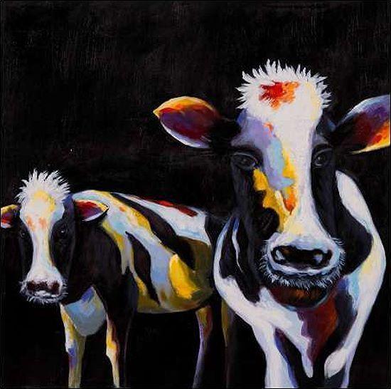 Atelier B  Two Funny Cows Keilrahmen-Bild Leinwand Kühe bunt lustig Bauernhof