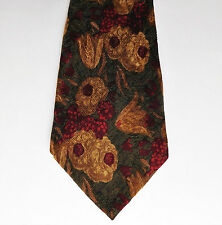 Ungaro Paris floral tie Pure silk Flowers fruit and leaves Made in Italy
