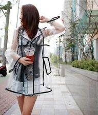 Women's Girls Men Black Vinyl Transparent Raincoat Runway Fation Clear Rain Coat